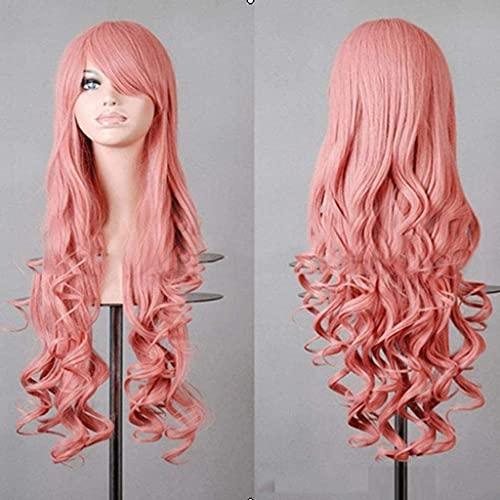 HTDYLHH Hermosas pelucas, peluca de cabeza sintética de fibra sintética, para mujer, pelo largo ondulado, para cosplay, fiesta, uso diario (color: E)