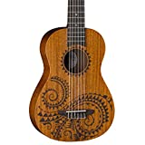 Luna Tattoo Mahogany 6-String Baritone Ukulele with Gig Bag, Satin Natural