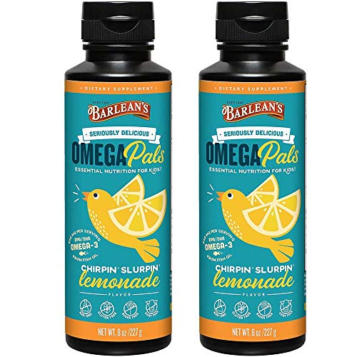 Barlean's Kid's Omega Swirl Fish Oil, Lemonade Flavor, 8-Ounce Bottles (Pack of 2)