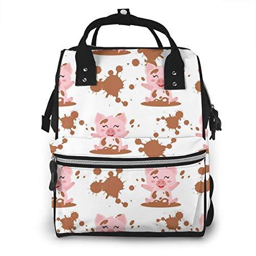 GXGZ Rose Little Piggy Multi-Function Diaper Bag Sac à dos pour maman/papa - Sac à dos de voyage étanche grand ouvert Sacs à langer pour les soins de bébé