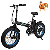 20' 500W 36V 12Ah Fat Tire Folding Electric Bike Removable Lithium Battery Beach Snow Bicycle Moped Electric Mountain Bike Powerful Motor Aluminum Frame Black and Blue