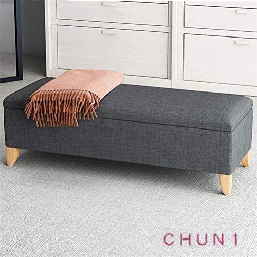 CHU N1 Aufbewahrungsbank, Leinengewebe Schuhmöbel Fußbank Sitz Toy Box 120 cm × 45 cm × 45 cm (L × B × H) 125 (Size : Dark Gray)
