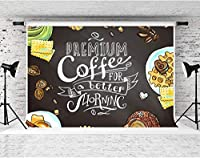 パーティーのためのHDスウィートコーヒーの背景7x5ftソフトコットンケーキビスケットデザート写真の背景プレミアムコーヒーより良いHornincをテーマにしたパーティーバナー写真撮影の小道具LYFS1140