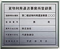 貨物利用運送事業所登録票(事務所用)ステンレスHL+アルミフレーム