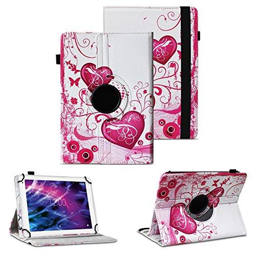 NAUC Medion LifeTab P8502 Robuste Universal Tablet Schutzhülle hochwertiges Kunstleder Hülle Tasche Standfunktion 360° Drehbar Cover Case, Farben:Motiv 7