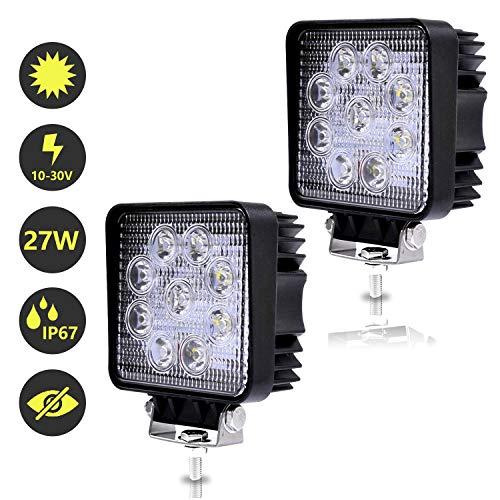 Hengda 2x 27W LED Arbeitsscheinwerfer Scheinwerfer 12V 24V Traktor Rückfahrscheinwerfer LED Strahler für Offroad, KFZ, SUV, LKW, Auto Zusatzscheinwerfer IP67 Wasserdicht, Quad