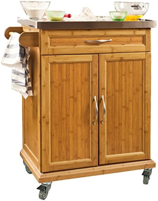 SoBuy Küchenwagen aus hochwertigem Bambus mit Edelstahltop, Küchenschrank, Kücheninsel B66xT46XH90cm FKW13-N