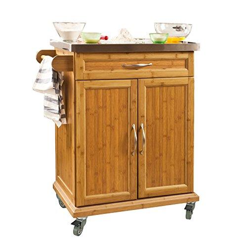 SoBuy FKW13-N Küchenwagen aus hochwertigem Bambus mit Edelstahltop Küchenschrank Kücheninsel BHT ca.: 66x90x46cm