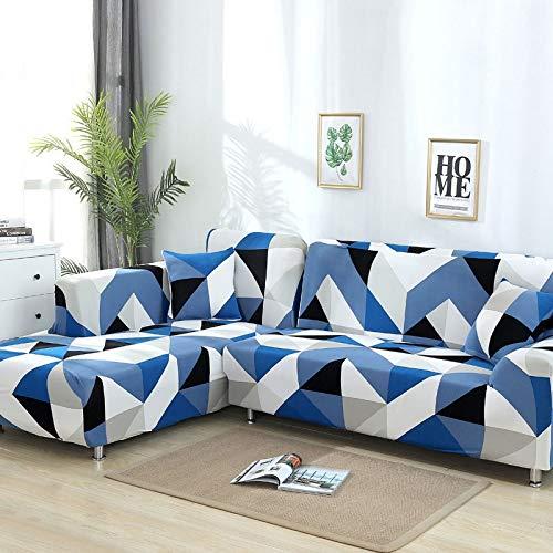 WXQY Funda de sofá geométrica, Funda de Tela de algodón, Funda de sofá, Funda de sofá elástica para Sala de Estar, Funda de sofá Chaise Longue en Forma de L A13 1 Plaza