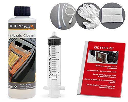 Octopus 250 ml Düsenreiniger, Druckkopfreiniger kompatibel für Canon Pixma Druckköpfe mit Schlauchadaptern (250 ml)