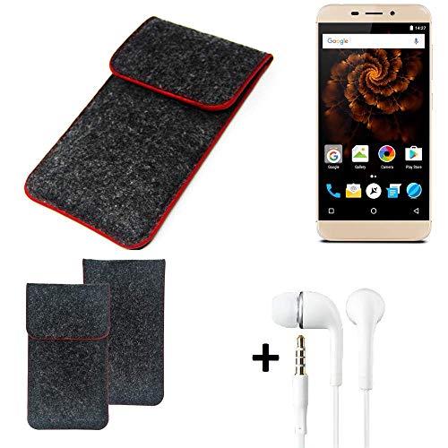 K-S-Trade Handy Schutz Hülle Für Allview X4 Soul Mini Schutzhülle Handyhülle Filztasche Pouch Tasche Hülle Sleeve Filzhülle Dunkelgrau Roter Rand + Kopfhörer
