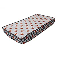 Bacati - Playful Foxes Orange Changing Pad Cover (Orange/Grey Fox with Triangles in Gussett) by Bacati