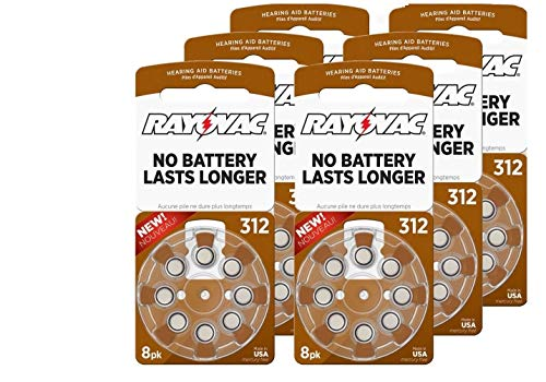 RAYOVAC Size 312 Hearing Aid Batteries, 48 ct