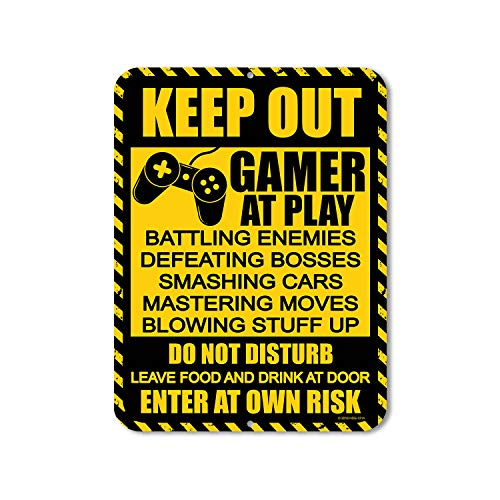 Honey Dew Gifts Gamer Decor, Keep Out Gamer at Play 9 inch by 12 inch Metal Aluminum Funny Novelty S