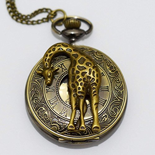 Charm Giraffe Rom Retro Uhr, Charms Anhänger Giraffe Uhr Halskette Anhänger, Charm, Herren Taschenuhr, Taschenuhr