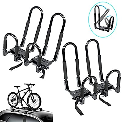 NO. 32 2 Pair Folding J-Style Kayak Carrier for Roof Racks - Car Rooftop Rack Carrier Storage on Bike, Canoe, Boat (Black)
