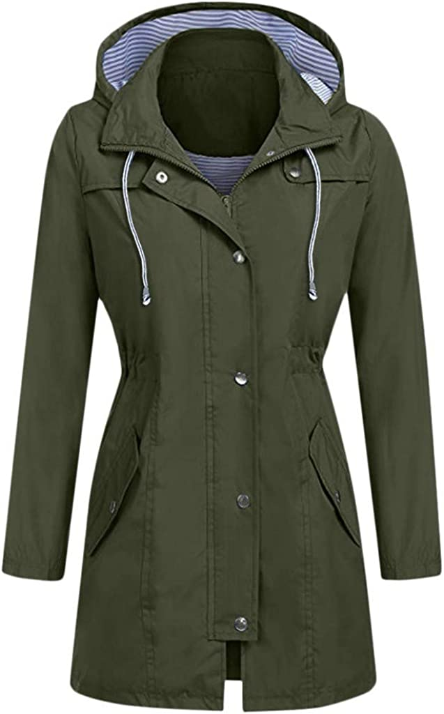 Women's Classic Belted Jacket Waterproof Austin Mall Coat Hooded Mid Length Special price for a limited time