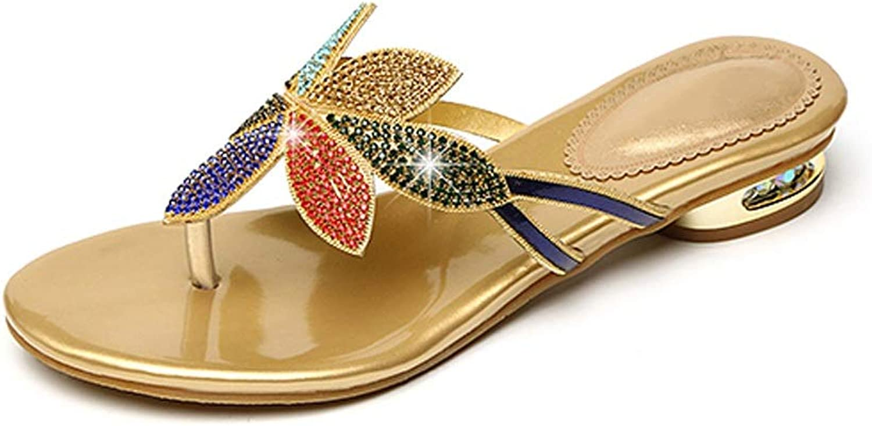 Fanxu Women's Flip Flops,Summer Flat Sandals Fashion Korean Crystal Sandals (2 color shoes Code 3541)