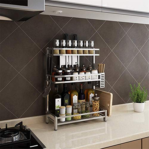 Nfudishpu 3 Tier Küche Spice Rack Organizer, Stehregal Küchenarbeitsplatte Speicherorganisator Regalhalter, 304 Edelstahl Organizer Halter