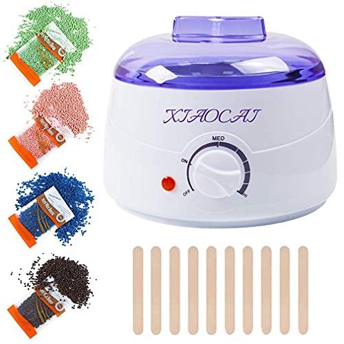 Wax Warmer Kit for Women Men,Hair Removal Waxing Kit with 4 Hard Wax Beans,10 Wax Applicator...
