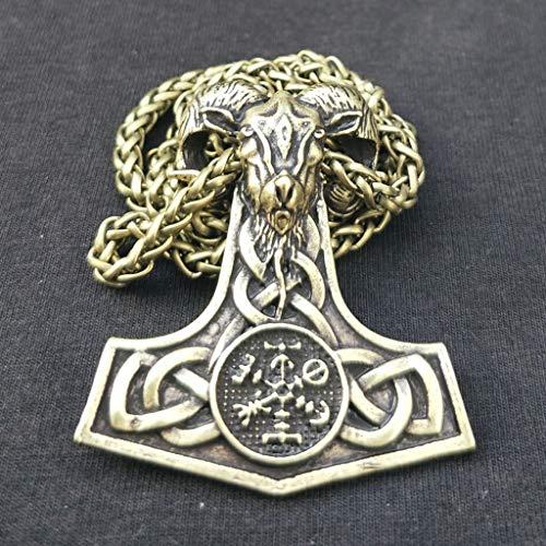 SummarLee 1 Wikinger Rune Anhänger Nordic Mythos Ziegenhammer Skelett Halskette Schmuck Amulett Männer und Frauen,Messing