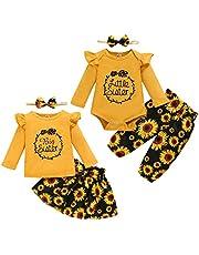 Haokaini Hermana Bebé Trajes a Juego Camisa de Mameluco Pantalones de Girasol Falda Conjunto de Diadema