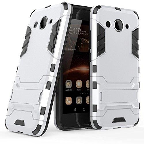 MYCASE Schutz Hülle Hülle für Huawei Y3 (2017)   Silber   Hard Cover mit Kickstand   Plastik Silikon Kunststoff TPU Schale Bumper Tasche Schutzhülle Handy Hülle