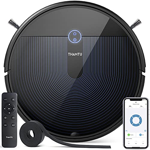 Thamtu G11 Robot Vacuum Cleaner 2500Pa Suction with Voice Prompt, with New Generation of Dynamic Navigation, 150Min Runtime, Quiet Cleaning, Good for Pet Hairs, Hard Floor, Medium-Pile Carpet, Blue