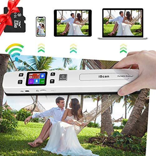 Portable Scanner Hollee WiFi Photo Scanner 300/600/1050 DPI Resolution Rechargeable Document Scanner Handheld A4 Color Page 16G SD Card for Phone Computer Laptop Photo Document Receipt Picture
