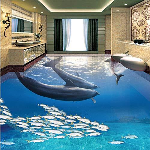 Dolphin Ocean World 3d Badezimmerboden Benutzerdefinierte PVC selbstklebende Tapete Hintergrund 150x105cm
