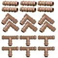 """Arfun Drip Irrigation Fittings Kit for 1/2"""" Tubing (.600 ID), 18 Pieces Set (17mm)- 6 Tees, 6 Couplings, 6 Elbows - Barded Connectors for Rain Bird Pipe and Sprinkler Systems"""