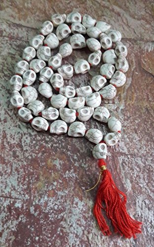 Goddess Kali Mund Mala Skeleton Bead White Color Mala (54+1 Beads)