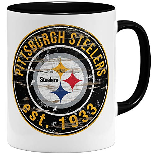 OM3® Pittsburgh Badge Tasse | Keramik Becher | 11oz 325ml | American Football Mug | Schwarz
