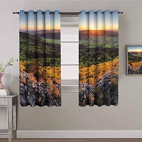 Azbza Blackout Curtains for Living Room - Landscape plant tree green - 90% Blackout 3D printing Curtains for Girls Kids Bedroom Window - W90 x H70 inch - Light Filter Privacy Protected