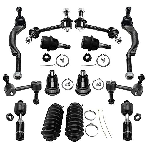 Detroit Axle - 14PC Front Upper Lower Ball Joint, Sway Bar, Inner Outer Tie Rod and Rack Boot Suspension Kit for 2002 2003 Chevy Trailblazer/GMC Envoy/Olds Bravada - 16mm Threads