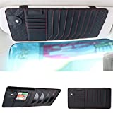 Yijueled CD Sun Visor Organizer CD DVDs Storage Case Holder Leather Vehicle Organizer Pockets Organization for Car Credit Cards Pockets Sunglasses Pen Holder