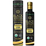 Black Seed Oil - Premium Organic Turkish Cold-Pressed Cumin Nigella Sativa (8.4 oz) - for Immunity Support, Joints, Digestion, Hair & Skin - Extra Virgin, Gluten-Free, Non-GMO & Vegan
