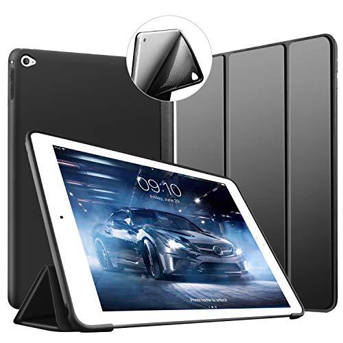 Custodia per iPad Air 2, VAGHVEO Ultra Sottile e Leggere [Auto Svegliati/Sonno] con Protezione Elevato Morbido TPU Soft Silicone Smart Cover Case per Apple iPad Air 2 (Modelli A1566 A1567), Nero