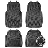 CARTMAN Non-Slip Car Floor Mat, Flexible Rubber, Black