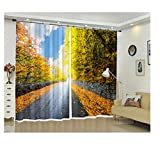 SHANGZHIQIN Modern Home Decoration Blackout 3D Curtain Photo for Kids Room,Cement Road in The Woods...