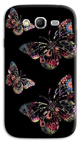 Mixroom - Cover Custodia Case in TPU Silicone Morbida per Samsung Galaxy Grand Neo I9060 (Plus) M717 Farfalle Sfondo Nero