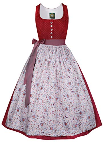 Hammerschmid Damen Trachten-Mode Langes Dirndl Koflersee in Rot, Größe:38, Farbe:Rot