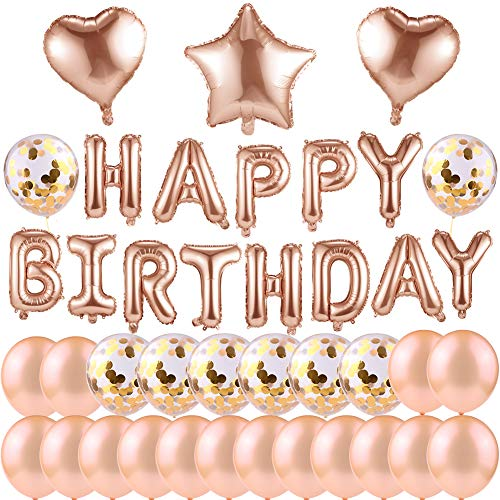 Austrake 誕生日 装飾 飾り付け 風船 バースデー デコレーション セットHAPPY BIRTHDAY シャンパンカラー紙吹雪入れ バルーン パーティー お祝い(壁貼り両面シール)