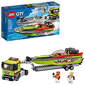 LEGO City Race Boat Transporter 60254 Race Boat Toy, Fun Building Set for Kids, New 2020 (238 Pieces) - 51UVMgv7UxL - LEGO City Race Boat Transporter 60254 Race Boat Toy, Fun Building Set for Kids, New 2020 (238 Pieces)
