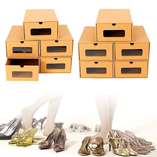 Caja de zapatos apilable, 10 unidades, de cartón, para manualidades, para hombre y mujer, 35 x 23,5 x 13,5 cm
