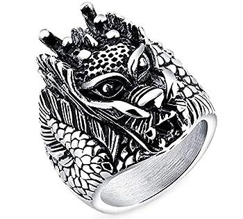 INSTO Bague En Acier Titanium de Titanium Hommes Bijoux Décoratif de Dragon Zodiaque Chinois Élégant,13