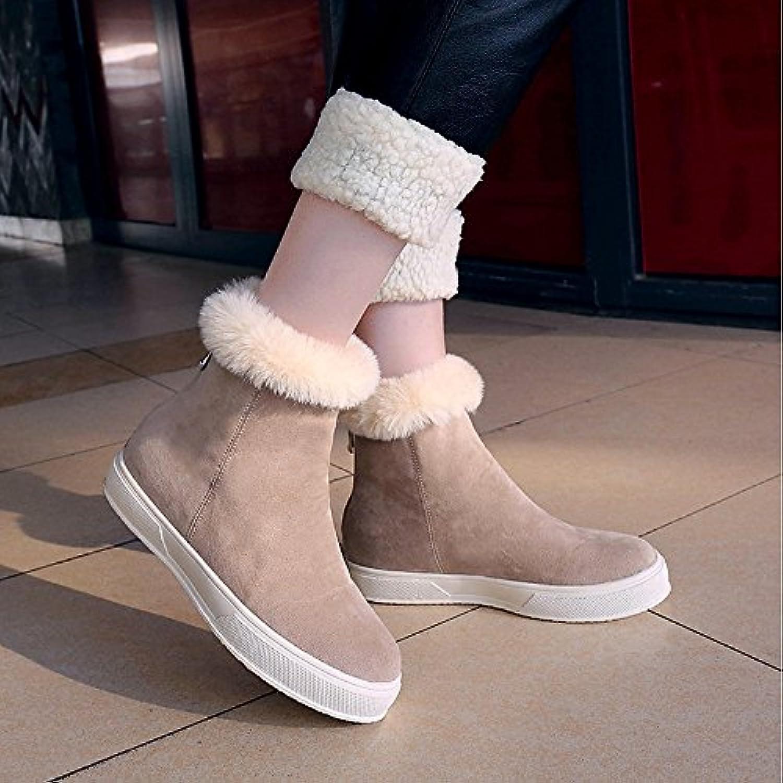 HSXZ Women's shoes PU Winter Combat Boots Boots Platform Round Toe for Casual Black Beige