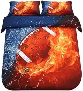 SDIII 3PC America Football Bedding Microfiber Full/Queen Sport Duvet Cover Set for Boys, Girls and Teens Reversible Color Design