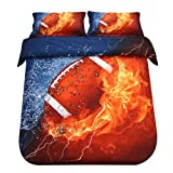 SDIII 2PC America Football Bedding Microfiber Twin Sport Duvet Cover Set for Boys, Girls and Teens Reversible Color Design
