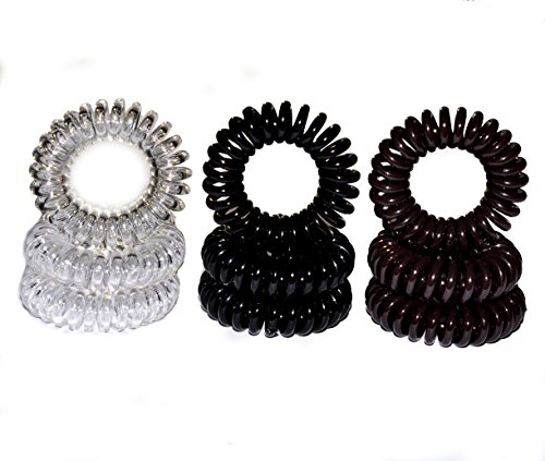 Miya Set of 9Superior Hair Scrunchie in Black Brown and Crystal Clear Plastic Mini, 3Pieces Elastic Telephone Line Cable Wire Spiral Telephone Hair Sc